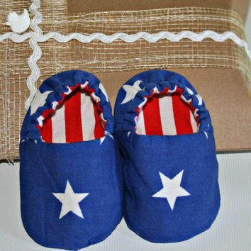 Stars & stripes handmade baby slippers Gift boxed Red white blue cotton fabric Reversible crib shoes boots booties Sizes from 0 -18 months