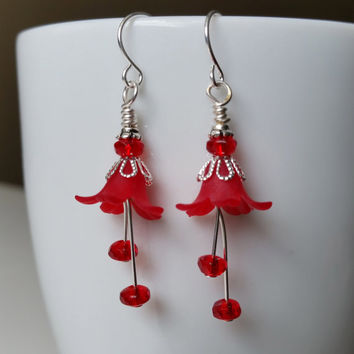 Lucite Flower Earrings Red Earrings Love you earrings  Nature Inspired Jewelry Dangle earrings