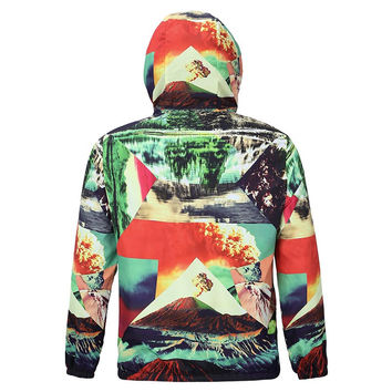 Autumn Spring lovely Jacket Men Hooded Hoody Waterproof Jacket Print Volcano Eruption Thin Polyester