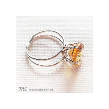 LARGE SOLITARE RING OVAL - CITRINE