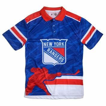 New York Rangers Official NHL Thematic Polyester Polo Shirt