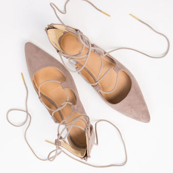 Pointy Lace-Up Flats