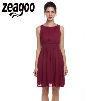 Zeagoo Chiffon Dress Summer Sleeveless Draped Flare Fit party Dress Vestidos Fashion Elegant Party Casual Sundress Dress