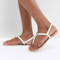 New Look Leather Look Toe Flat Sandal at asos.com