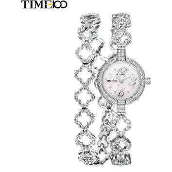 NEW TIME100 WOMEN'S QUARTZ WATCHES FREE BRACELET ROUND DIAL DIAMOND JEWELRY ALLOY STRAP LADIES BRACELET WATCHES RELOJ MUJER
