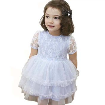 summer baby girl dress Cotton Blended Lace Gauze kids mini dress Puff Lace Short Sleeve o neck infant cute Solid clothing 2-6Y