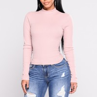 Rhea Long Sleeve Tee - Dusty Pink