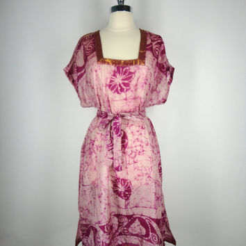Kaftan Dress / Tunic Caftan / Swim Coverup / Hand Made / Vintage Indian Silk Sari / Pink Purple Batik Tie Dye Print / Limited Edition
