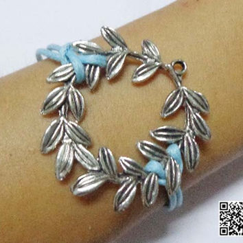 ancient silver lucky bracelet circle leaves, wax rope personalized gift friendship