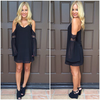 Jasmine Off Shoulder Chiffon Dress - BLACK