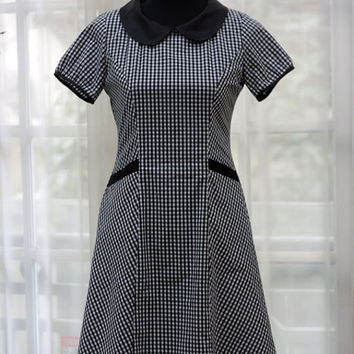 1960s Retro Vintage Style - Black & White Check 7 panels Fit and Flare hem Peter Pan collar dress - Custom Sizing Available - ORTV18
