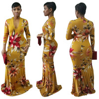 Yellow Floral Print Bodycon Maxi Dress