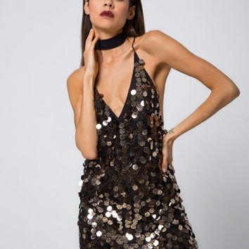 Finn Slip Dress in Black and Gold Speckle Sequin by Motel