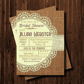 Baby Shower Invitation-Printable-Burlap and Lace-Doily-Rustic-custom colors
