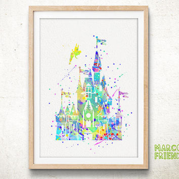 Disney Cinderella's Castle - Watercolor Art Print, Room Decor, Princess Poster, Home Baby Nursery Wall Art