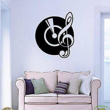 Wall Sticker Gramophone Notes Music Cool Modern Decor For Living Room Unique Gift z1503