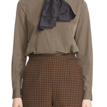 Isa Arfen 'Classic' Stripe Cotton & Silk Blouse with Taffeta Bow | Nordstrom