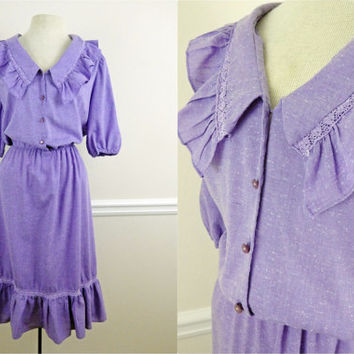 Vintage 70s Purple Ruffle Dress // Lace and Flow // Cowgirl Chic // Heathered Cotton //  Large