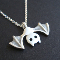 Bat Necklace Jewelry Vampire Goth sterling silver Teen gift Girl Woman Boy  Black White mom Valentine for her