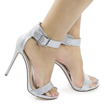 Canter Silver Glitter by Delicious, Silver Glitter Delicious Women's Single Sole Ankle Strap High Heels