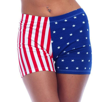 Ladies American Flag Spandex Shorts (XS Only)