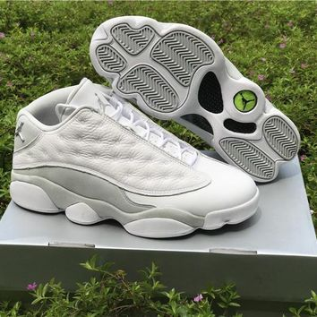 a80cb8fafe92 Air Jordan Retro 13 Low Pure Money Men Basketball Shoes 13s Low White Grey  Athletics Sneakers