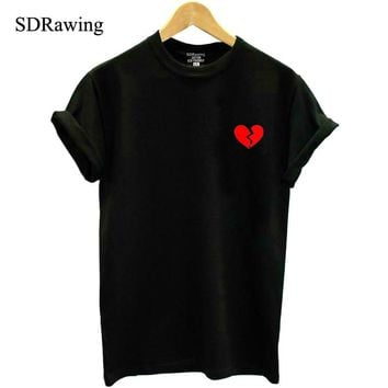 Fashion broken red heart Print Women tshirt Cotton Casual Funny t shirt For Lady Top Tee Hipster