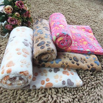 Warm Pet Bed Mat Cover Small Medium Large Towls Paw Handcrafted Print Cat Dog Fleece Soft Blanket Puppy Winter Pet Supplies
