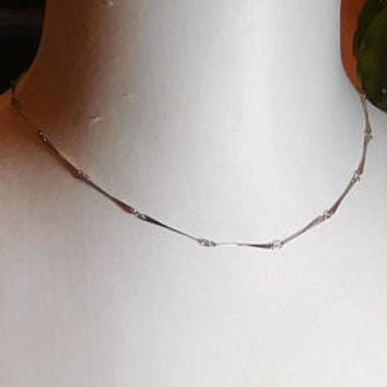 "Silver Choker Necklace, Long Thin Bars, 18 1/4"", Silver Tone, Never Worn, Vintage 70s 80s, Costume Jewelry"