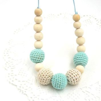 ac spbest Drop shipping Mint teal cream crochet beads Teething necklace Breastfeeding mom necklace. baby teether shower gift EN14