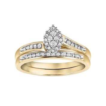 Cherish Always Diamond Bypass Engagement Ring Set in 10k Gold (1/5 Carat T.W.) (White)