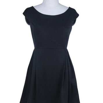 Black Sleeveless Pleated Sheath A-line Mini Dress