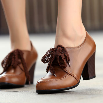 2013 Ladies Vintage Black Brown Women Genuine Leather Oxford Shoes Lace Up Chunky High Heel Lace Up Ankle Boots Pumps Booties