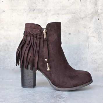 City Chic Fringe Vegan Suede Ankle Boot   Brown