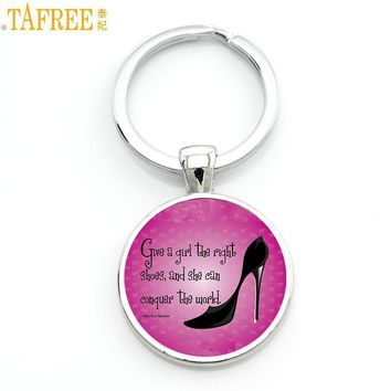 TAFREE women high heels keychain Give a girl the right shoes and she can conquer the world Marilyn Monroe key chains rings CT620