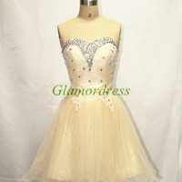 short cute lace and organza homecoming dresses with swarovski crystals unique sweetheart gowns for cocktail lace-up back prom dress