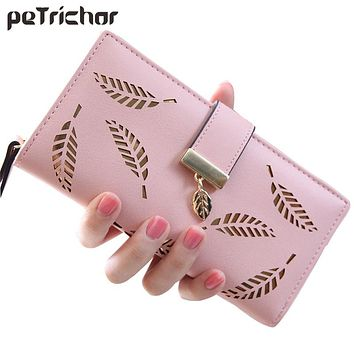 2017 Hollow Out Leaf Women Wallet Long Hasp PU leather Women Purse Korean Style Ladies Wallets Clutch Beautiful Card Holder