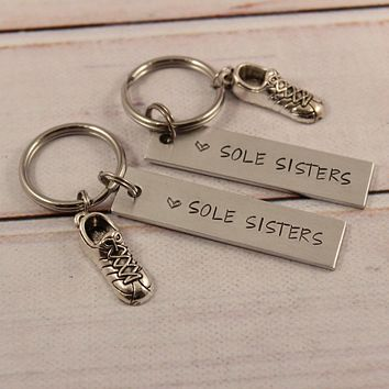 """""""Sole Sisters"""" - Running Buddy Keychain Set of TWO - #SIL"""