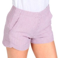 Line And Sinker Plum Seersucker Shorts | Monday Dress Boutique