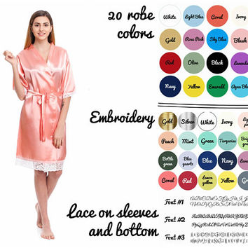 Satin lace robes, Bridesmaids robes, Monogrammed wedding robes, Personalized bridesmaid gifts, Cheap robes, Bridal party robes, Kimono robes