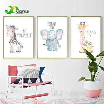 Nordic Animal Art Poster Elephant Horse Canvas Painting Wall Art Picture Nordic Home Decoraction Picture For Baby Room Unframed