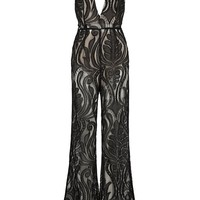 Honey Couture ORLA Black Lace V Neck Jumpsuit
