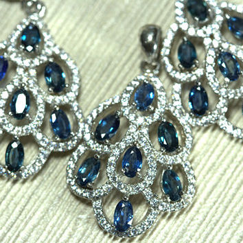 Sterling Silver Blue Sapphire 3 piece Set. 925 Purity Silver. Set includes Ring, Earring Pair & Pendant. A PERFECT GIFT.