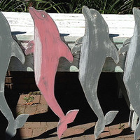 Dolphin Sign Wall Art Wood Wooden Beach House Decor by CastawaysHall