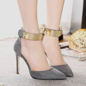 Metal Decorate Pointed Toe Ankle Wrap stiletto High Heels Party Shoes