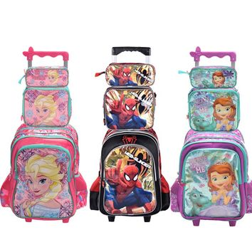 2017 new hot quality princes snow squeen cars children trolly school bag set trolley luggage backpack set for boys and girls
