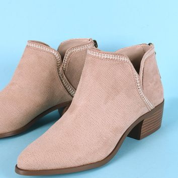 Qupid Perforated Suede Almond Toe Booties