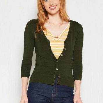 Charter School Cardigan in Olive | Mod Retro Vintage Sweaters | ModCloth.com