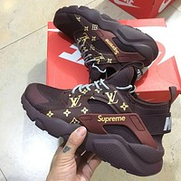 NIKE x LV x Supreme AIR Huarache Fashion Women Men Running Sport Casual Shoes Sneakers Coffee