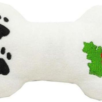ESBHJ2 Plush Christmas Dog Toy with Squeaker Holly Bone